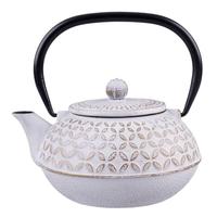 Cast Iron Teapot Gold Leaf - White 900ml