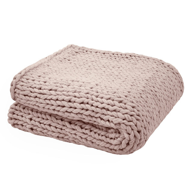 Bambury Chunky Knit Throw (Rosewater)