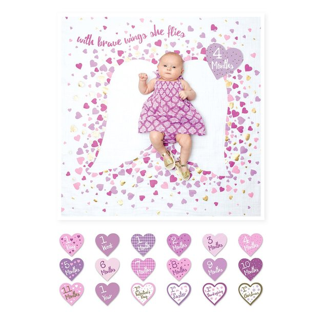 Lulujo's Baby First Year Milestone Blanket & Cards Set - With Brave Wings She Flies