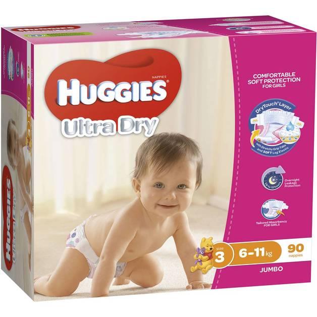 Huggies Ultra Dry Nappies Jumbo Pack - Size 3 Crawler Girl (90)
