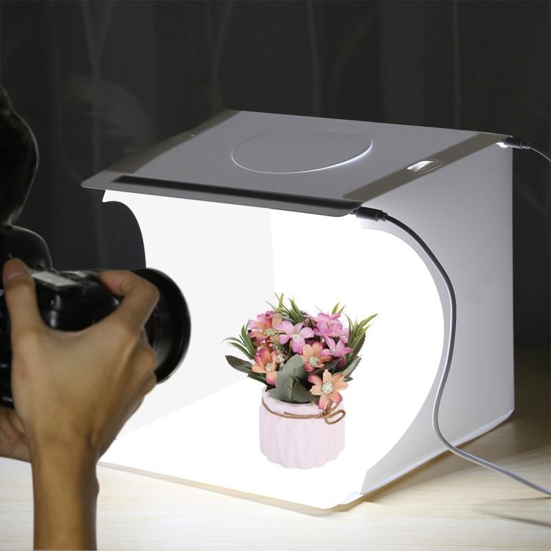 Mini Folding Lightbox 2 LED Photography Softbox - White image