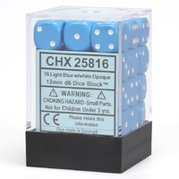 Chessex: D6 Opaque Cube Set (12mm) - Blue/White