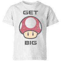 Nintendo Super Mario Get Big Mushroom T-Shirt Kids' T-Shirt - White - 9-10 Years image