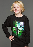 Minecraft Three Creeper Moon Youth Long Sleeved Shirt (Large)