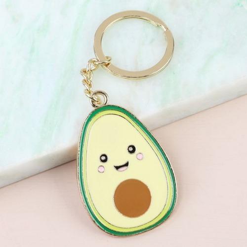 Happy Avocado Enamel Keyring