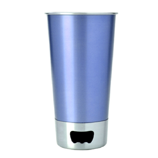 Asobu Stainless Steel Beer Cup + Opener (Blue)
