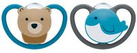 NUK: Space Silicone Soothers Bear/Bird - 0-6mths (2pk)