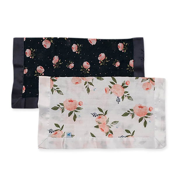 Little Unicorn: Muslin Security Blanket 2 Pack - Watercolour Roses & Midnight Rose