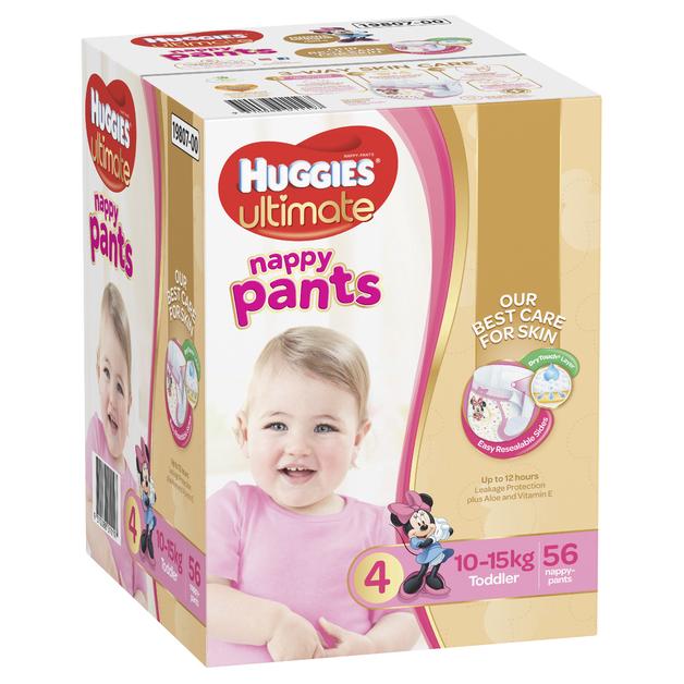 Huggies Ultimate Nappy Pants: Jumbo Pack - Toddler Girl 10-15kg (56)