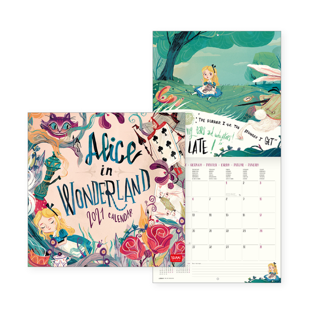 Legami: Alice in Wonderland 2021 Wall Calendar (30 x 29cm)