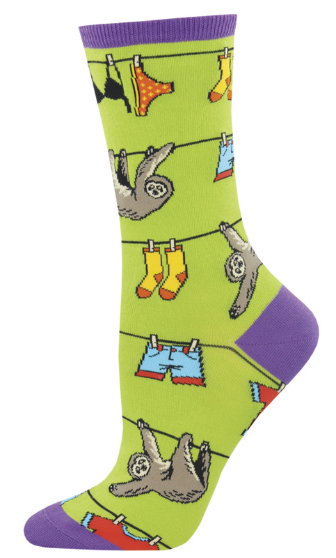 Socksmith: Women's Sloth On A Line Crew Socks - Green