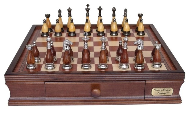 "Dal Rossi: Staunton Metal/Wood - 16"" Chess Set (Classic Finish)"