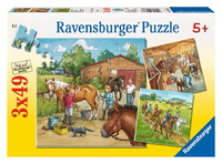 Ravensburger 3x49 Piece Jigsaw Puzzles - A Day with Horses
