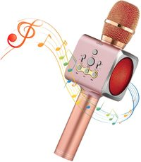 Colorful LED Wireless Bluetooth Karaoke Microphone - Pink