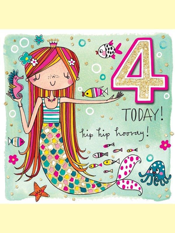 Rachel Ellen: Happy Birthday Mermaid Age 4 Card image