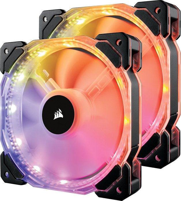 Corsair HD140 RGB LED High Performance 140mm PWM Fan — Twin Pack with Controller