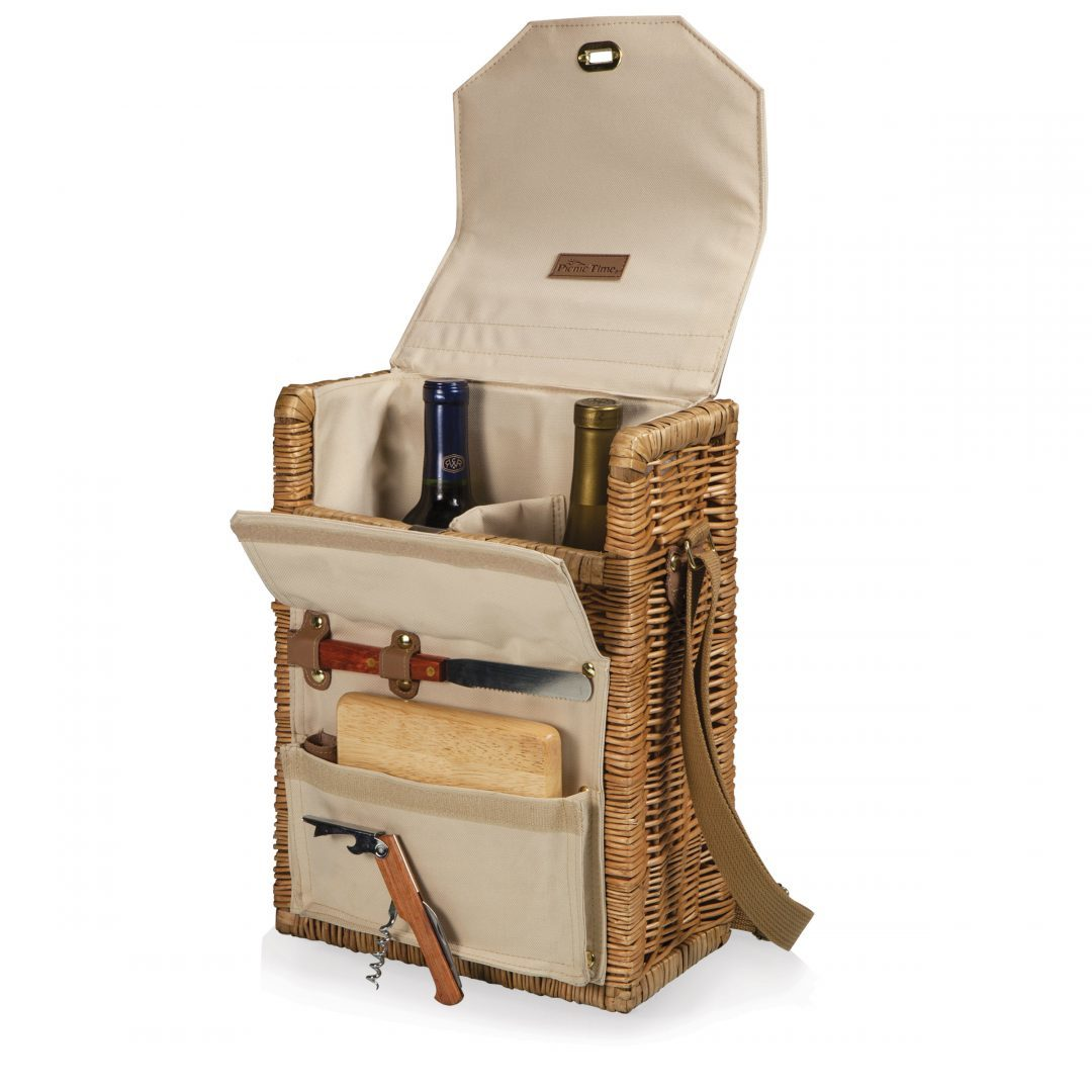 Picnic Time: Corsica Wine & Cheese Picnic Basket (Natural Willow) image