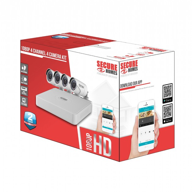 Secure Homes: 4 Channel 4 Camera Kit 1TB HDD, 1080P