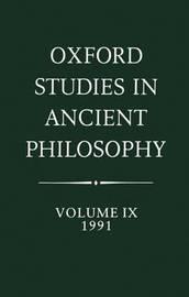 Oxford Studies in Ancient Philosophy: Volume IX: 1991 image