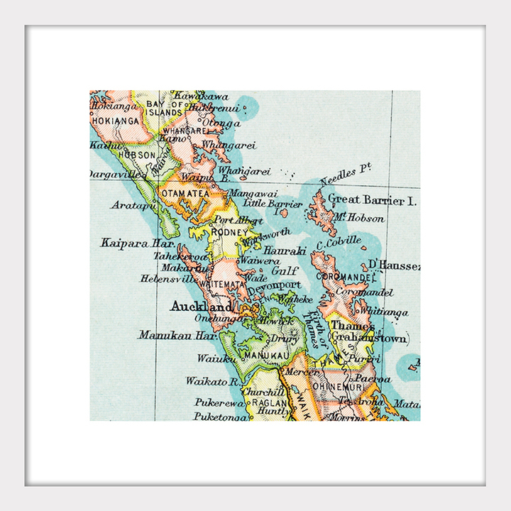 New Zealand Auckland Map.Auckland Vintage Map Print Framed