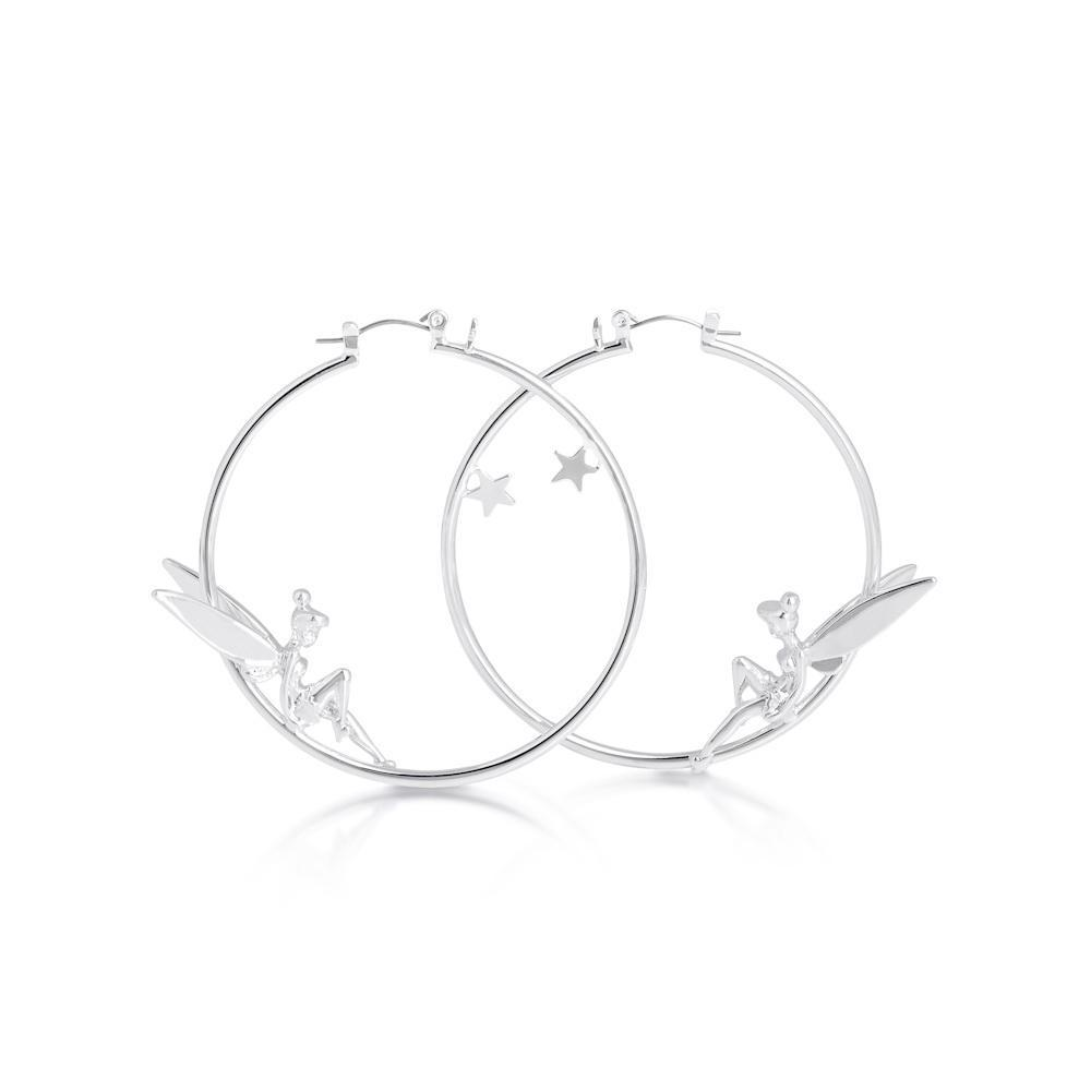 Couture Kingdom: Disney Silver Tinker Bell Hoops- White Gold image