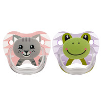 Dr Brown's PreVent Printed Shield Pacifier Pink Stage 1 - 0-6mths (2 Pack)