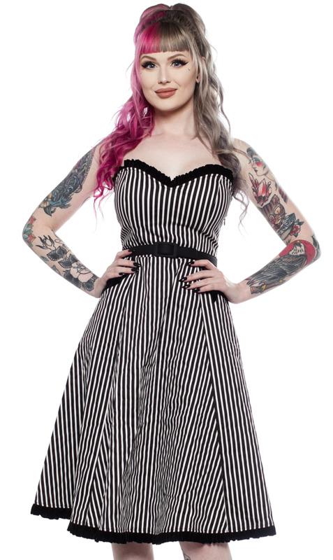Sourpuss: Striped Sweetheart Dress Black/White (Medium)