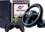 Console Bundle 3 PS2 Con + GT4+ speedster wheel for PlayStation 2