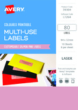 Avery L7264 Multi-Use Labels - Salmon (10 Sheets/80 Labels)