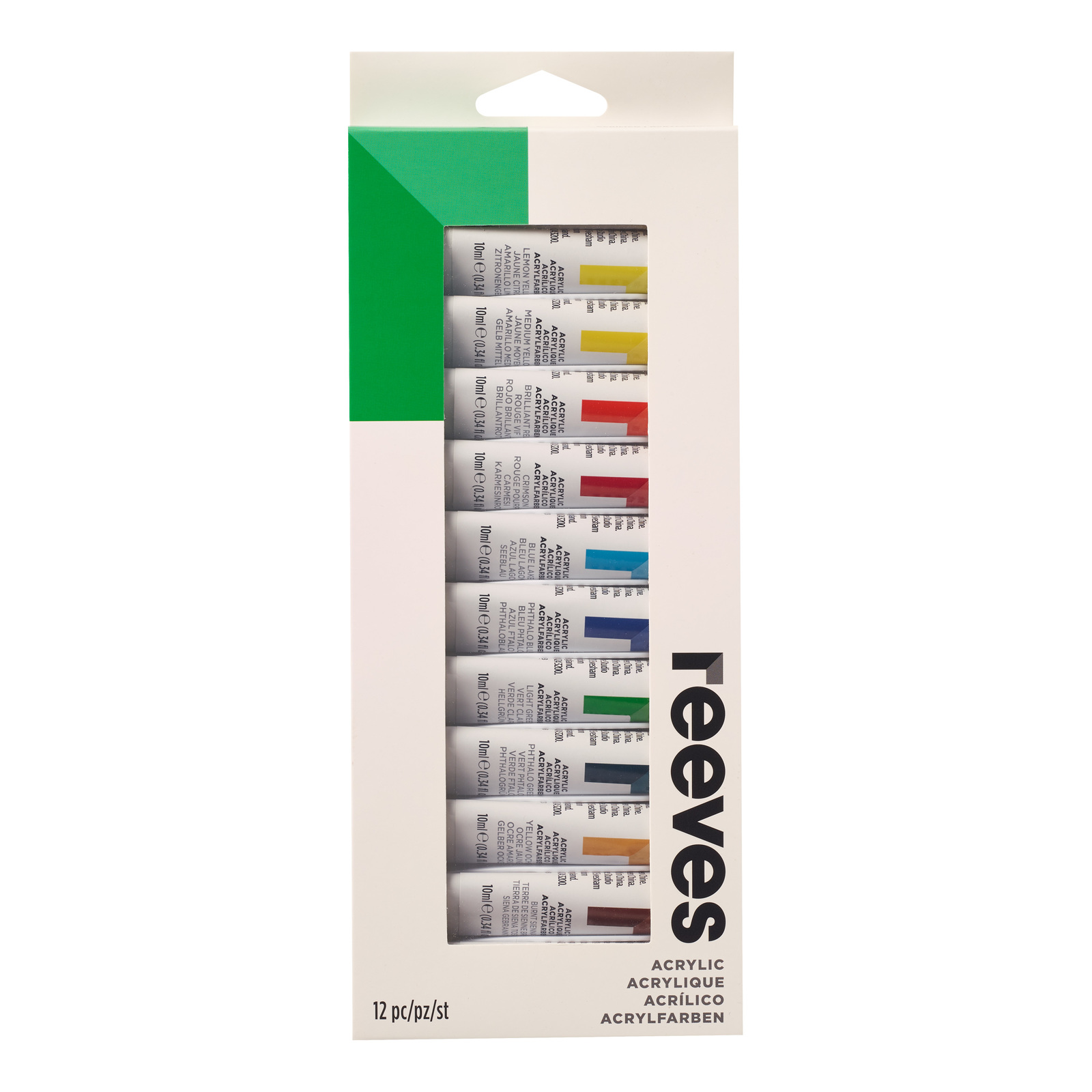 Reeves Artist Acrylic Paints - Set of 12 (10ml) image