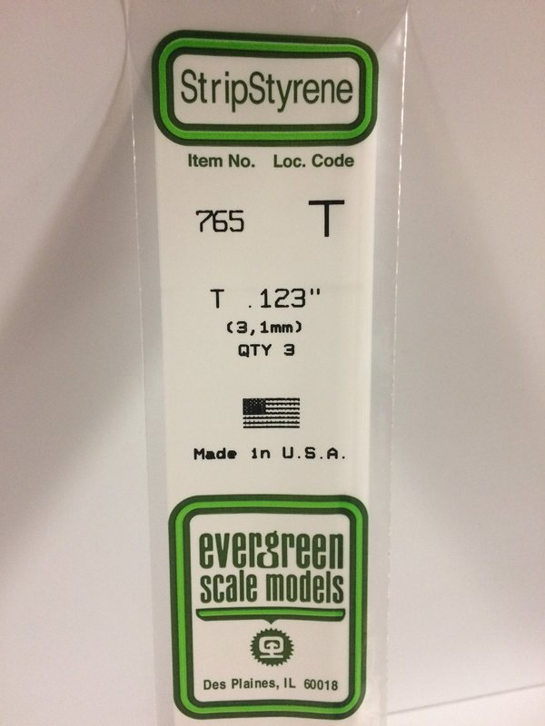 Evergreen Styrene T 35cm 3.1 X 3.1 X 1 mm