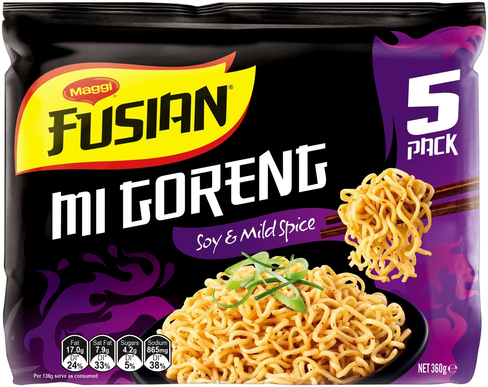 Maggi Fusian Noodles - Mi Goreng Soy & Mild Spice (30 Pack) image