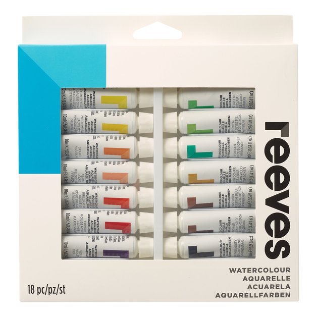 Reeves Water Colour Paints 10ml - Set of 18