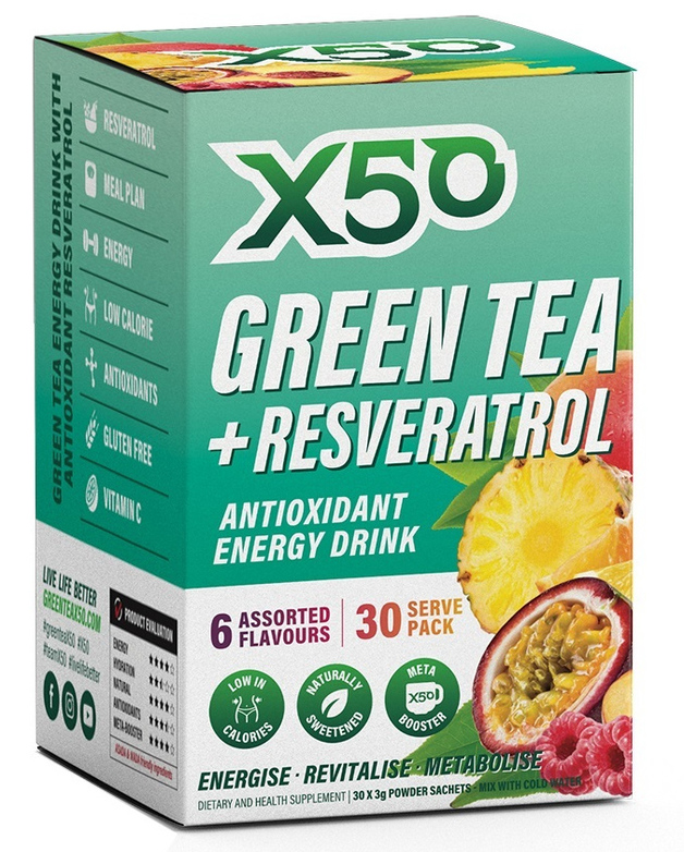 Green Tea X50 + Resveratrol - Assorted (30 Serves)
