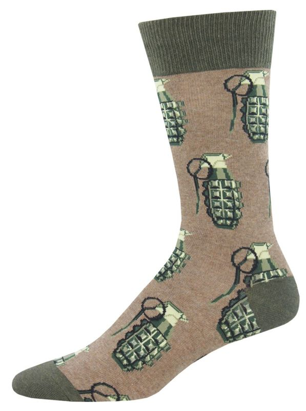 Socksmith: Men's Put A Pin In It Crew Socks - Brown Heather