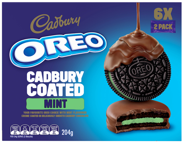 Oreos: Cadbury Chocolate Coated - Mint (10 x 204g)