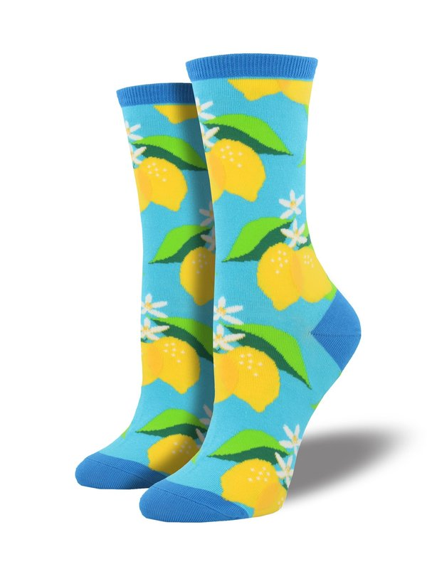 Socksmith: Womens When Life Gives You Lemons Crew Socks- Azure