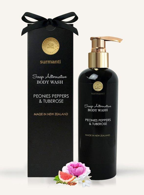 Surmanti Body Wash Soap Alternative - Peonies, Peppers & Tuberose (300ml)