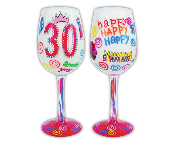 Bottom's Up Wine Glass - 30, Another Year Older