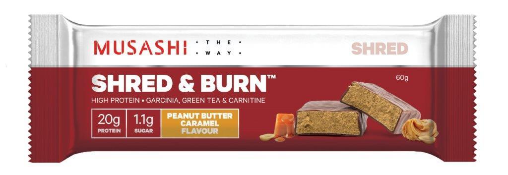 Musashi Shred & Burn Protein Bars - Peanut Butter Caramel (12x60g) image