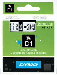 Dymo: 12mm D1 Tape - Black on White