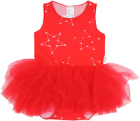 Bonds Wonderbodies Tutu Dress - Confetti Star Red Glo Silver - 0-3 Months