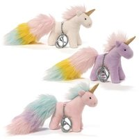 Unicorn Rainbow: Poof Tails Plush Key Chain - White