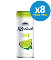 NZ Natural Sparkling Cans Lime 250ml 8pk