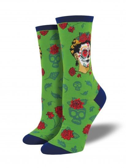 Socksmith: Women's Dia De Los Frida Crew Socks - Clover