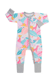 Bonds Zip Wondersuit Long Sleeve - Spy in the Jungle White (3-6 Months)