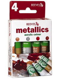 Reeves Acrylic Pack - Metallics (4x10ml)