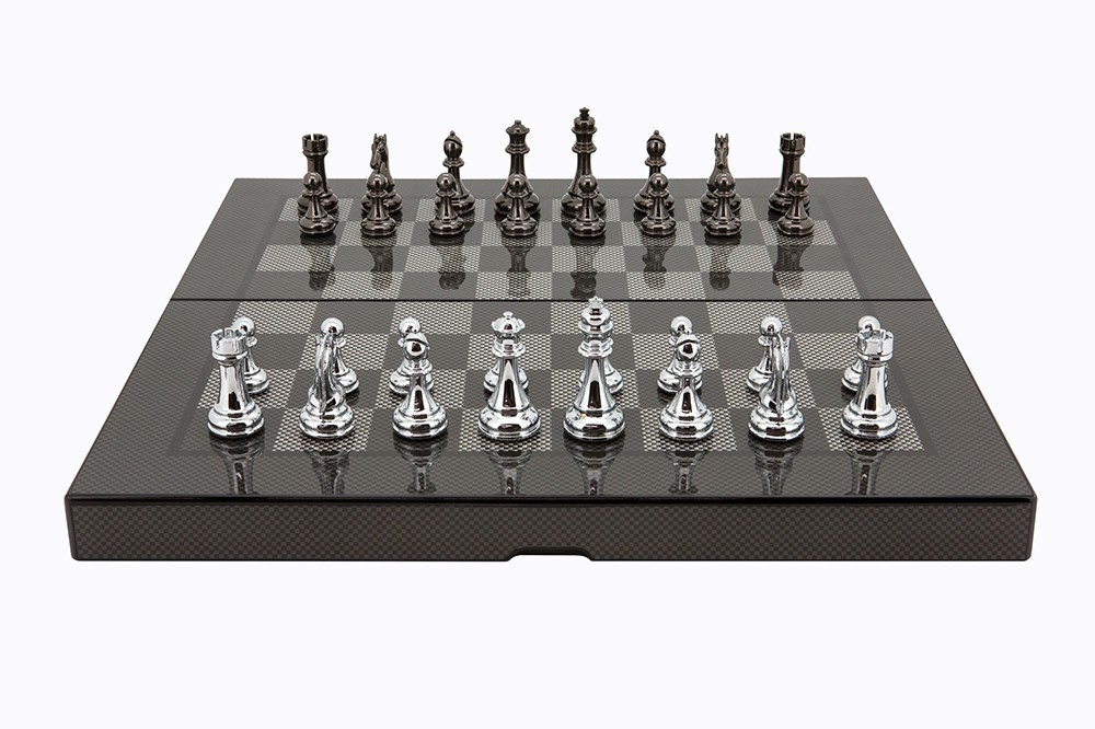 Dal Rossi Carbon Fibre Finish Folding Chess Set - 40cm image