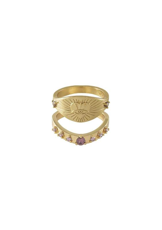 Wanderlust + Co: Harlow Gold Rings Set - Harlow Rings Set (Size 7)