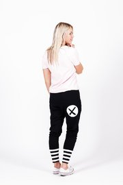 Home-Lee: Apartment Pants -Black With White X Spot Print And Stripe Cuffs - 10 image